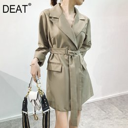 Discount england women coat - [DEAT] 2019 Autumn Fashion Trend New Pattern England Style Long Section High Waist Button Slim Thin Women's Trench