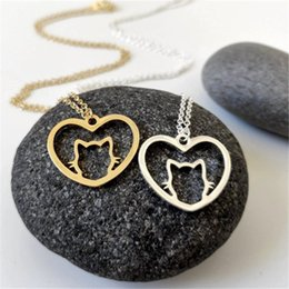 $enCountryForm.capitalKeyWord Australia - Dainty Cat Love Heart Necklace Kitten charm Pendants Pretty and Delicate Minimalist Cat Lover Jewelry for Pet memorial Gift