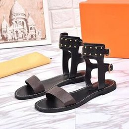 $enCountryForm.capitalKeyWord Australia - Original packaging 2019 Popular Summer Luxury Ladies Leather Gladiator Style Flat Black Gold Rivet Ms. Swimsuit Sandals Party Sexy Shoes 43