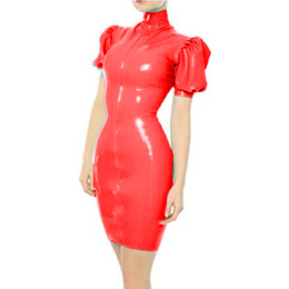 sexy pink cosplay NZ - 12 Colors Sexy Skinny Clubwear With Long Gloves Lady Dancing Cosplay Costume Wet Look 2 PCS Dress Set PVC Puff Sleeve Mini Dress