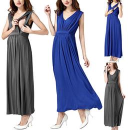 $enCountryForm.capitalKeyWord Australia - MUQGEW maternity dresses pregnant woman clothes Nursing Pregnanty Strap Ruffles Solid Long Dress robe femme enceinte#y2