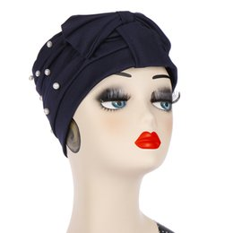 White Loss Australia - Summer Bowknot Muslim Turban Stretch Hat Pearl Beading Hijab Cap Head Wrap Hair Loss Head Scarf Women Fashion Accessories
