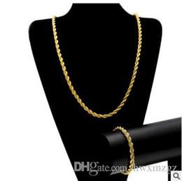 14k Chains Australia - Men Hip Hop 6.5mm Hemp Chain HIPHOP ROPE CHAIN 14K Gold Silver Plated Bracelet Necklace Set