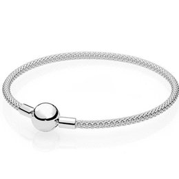 925 silver mesh chain NZ - Original Snake Chain Basic Ball Clasp Mesh Bracelet Bangle Fit Women 925 Sterling Silver Bangle Bead Charm DIY Europe Jewelry
