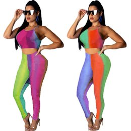 fashion wholesale yoga pants UK - Women designer two piece set pullover crop top vest sleeveless Spaghetti Strap t-shirt bodycon leggings pants summer clothing plus size 474