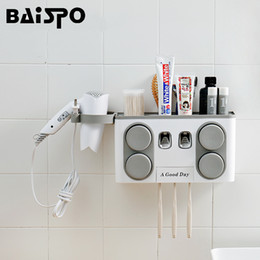 $enCountryForm.capitalKeyWord Australia - BAISPO Bathroom Set Accessories Toothbrush Holder Automatic Toothpaste Dispenser Suction Cup Wall Mount Bathroom Storage Box SH190919