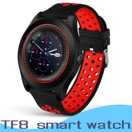 Bluetooth Smart Watch Sim Australia - TF8 Smart Watch Phone Round Screen Camera Sports Fitness Tracker Sleep Monitoring Bluetooth Smartwatch Support TF SIM Card Wristwatch