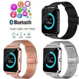 Dial Box Australia - wholesale Z60 Bluetooth Smart Watch Wireless Watches Stainless Steel For Android IOS Support SIM TF Card Fitness Tracker with Retail Box