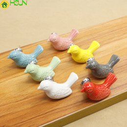 children handles knobs UK - Cute Cartoon Kids Knobs Colour Ceramic Bird Drawer Shoe Cabinet Knob Pull Red Pink Yellow Blue Green White Gary Children Handle