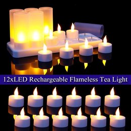 led candle votive UK - With AU Plug 12pcs LED Rechargeable Candle Lamp Flame Flashing Tea Light Home Wedding Birthday Party Decoration 220V Y200531