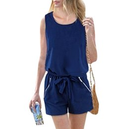 4f0f79ed1a Sexy Women 5XL Plus Size Playsuit Elegant Short Jumpsuit Romper Casual  Button Solid Overalls One Piece Bodysuit with Self-tie