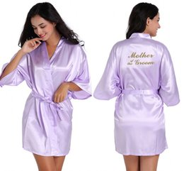 mother s bride blue dress 2019 - Women Satin Short Nightgown Mother of Bride Gold Letter Printed Bride Bathrobe Night Bath Robe Wedding Sexy Dressing Gow