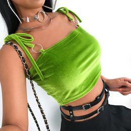 $enCountryForm.capitalKeyWord NZ - Streetwear Sleeveless Tank Top Women Spaghetti Strap Crop Tops Tees Tie Up Casual Camis Top Ring Fluorescent Green