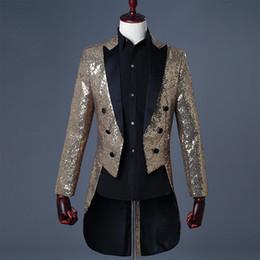 $enCountryForm.capitalKeyWord Australia - Magician Sequins Tuxedo Men's Stage Wear Conductor Coats Solid Blue Red Black Gold Mens Suits Blazers Jacket