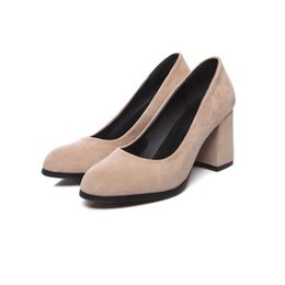 blocked heels shoes UK - Hot Sale Womens Ladies Womens Mid Block Heel Office Work Casual Faux Suede Shoes Size Pumps FS-S1196 US UK EUR Size Customized