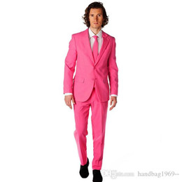 h suit Australia - Two Buttons Hot Pink Groom Tuxedos Man Prom Work Busienss Suit Party Blazer Wedding Suits (Jacket+Pants+Tie) H:892