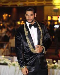 Shawl Beads Blue Australia - 2019 New Designs Wedding Men Suit One Pieces Lace Appliqued Beads Mens Suit Slim Fit One Button Just Jacket Lapel Tuxedo for Wedding