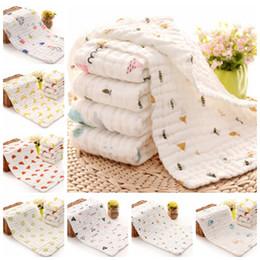Großhandel Baby-Handtücher aus 100% Baumwolle Gauze Neugeborene Spucktücher Muslin Baby Face Handtücher Baby-Bad-Wrap Baby Jungen Mädchen Waschlappen 17 Entwürfe 10pcs DW4154