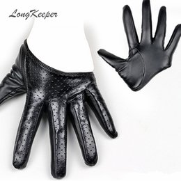 sexy leather black gloves NZ - LongKeeper New Design Sexy Leather Gloves for Women Half Palm PU Leather Gloves Party Show Mittens Black Gold Silver