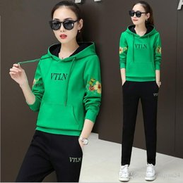 Wholesale Sports suit women s fashion print hooded sweater two sets of tide Korean women s spring and autumn new casual sportswear