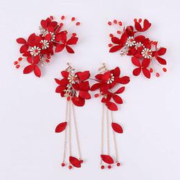 bride tiara jewelry sets 2019 - Red Flower Leaf Crystal Pearl Hair Pin and Long Tassel Earring Set Bride Headpiece Tiara Hair Accessories Wedding Jewelr
