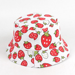 fallen hats Australia - Fisherman Cartoon fruit children hat summer floral fall Folding Sun Protection Outdoor for Toddlers Kids Beach Fisherman Cap LJJJ140