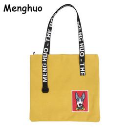 7e40c341db 2019 Fashion Menghuo Canvas Handbags Shopping Eco Reusable Dog Pattern  Shoulder Bag Tote Bag Casual Messenger Bags School Travel Women Bag
