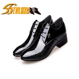 Snakeskin Shoe Laces NZ - Men's Dress Shoe Snakeskin Grain Leather Men Wedding Oxford Shoes Lace-Up Office Suit Men's Casual Shoes Luxury Italian 38-45