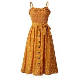 $enCountryForm.capitalKeyWord Canada - Polka Dot Ruffle Neck Money Printed Mid Calf Button Bodycon Dresses Holiday Fashion Casual Skirt Night Party Clothing