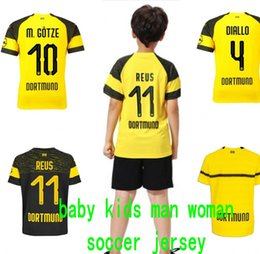 Wholesale baby infant boy designer clothes Schwarz Gelb Soccer Jerseys GUNDOGAN YARMOLENKO kids football jersey girls adult Maillot De Foot