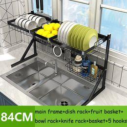 Discount sink bowls - 84cm Stainless steel drying bowl sink rack drain Kitchen Storage supplies 2 layer rack pool put dish rack cupboard