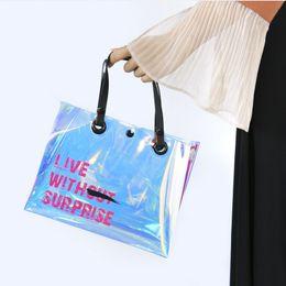 Ladies transparent handbags online shopping - Transparent Laser Inclined Shoulder Bag Button Long Handles Waterproof Handbag Eco Friendly Popular Ladies Storage Bags hwE1