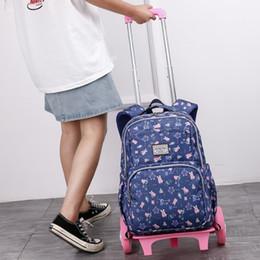 $enCountryForm.capitalKeyWord Australia - Hot style 2 6 wheels Palou student trolley schoolbag fashion shoulder casual bag cartoon zipper removable backpack girl bookbag Handbag