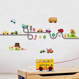 Play Room Wall Stickers Australia - Cartoon Cars Highway Track Wall Stickers For Kids Rooms Sticker Children's Play Room Bedroom Decor Wall Art Decals