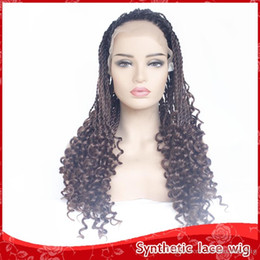Discount synthetic braiding hair free - Top Quality Fashion Dreadlock Hair Ombre Brown Wig Braided Hair With Curly Glueless Synthetic Lace Front Wigs for Women