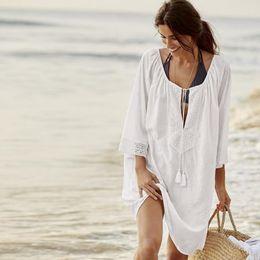 $enCountryForm.capitalKeyWord NZ - Arrive Women Long Blouse Shirts With Tassel Beach Bikini Cover Up Loose Lace Long Sleeve Chiffon Tops Blouses LJJS160