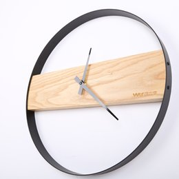 Round wood wall clocks online shopping - 14 inch Round solid wood ultra quiet wall clock Living room bedroom wall hanging clocks clocks home decor