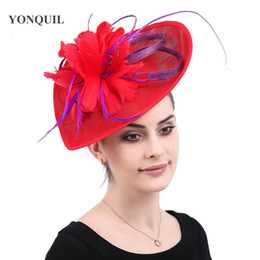 db89f412fe54e Kenducky derby cocktail feathers fascinators hats wedding chapeau caps red headwear  women ladies female elegant hair accessories free ship