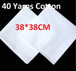 white cotton bandanas wholesale NZ - 38*38cm Cotton White Handkerchief Pure White Scarf For Tie Dyed Rubbing Small Square Painting Manual DIY Wedding Scarf Hotel Sweat Bandanas