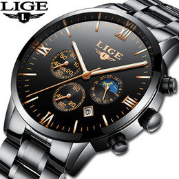 top fashion luxury watches NZ - Lige Watch Famous Men Fashion Quartz Clock Mens Watches Top Brand Luxury Full Steel Business Waterproof Watch Relogio Masculino Y19070603