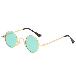 a508d8236 Hippies Small Round Sunglasses Women Clear Lens Red Shades Sunglass Vintage  Brand Designer Gold Sliver Metal Frame Sun Glasses