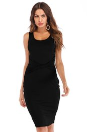 black sexy ladies clothes UK - Summer Designer Solid Female Dress Women Sexy Scoop Neck Dresses with Peplum Fashion Ladies Holidays Clothing