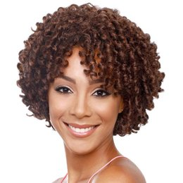 """Discount afro hair wigs for african woman - Fashion 10"""" Kinky Curly Wigs for African Women - Red-Brown Short Hair Afro Wig Heat Resistant Synthetic Fashion Ful"""