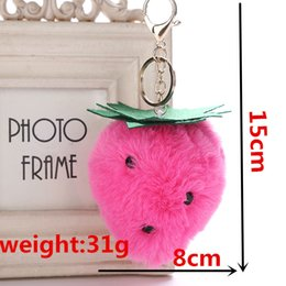 strawberry key Australia - Sweet Cute Keychain Cartoon Fruit Strawberry Key Chain Pendant Woman Bag Pendant Pompom Accessories Jewelry Fashion Keychain