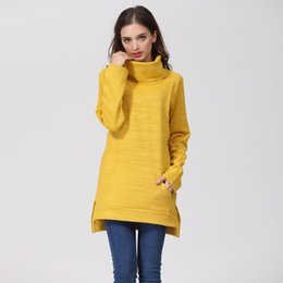 long maxi winter coat UK - Winter Elegant Maternity Sweater Thermal Breastfeeding Coat Turtle Neck Nursing Jumpers Lactation Clothes Dropshipping