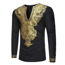 Wholesale African Shirts Australia - Feitong Men Shirts Spring African Gold Print Long Sleeve Dashiki Top Comfortable Casual Blouses Slim Fit Male Shirt Plus Size