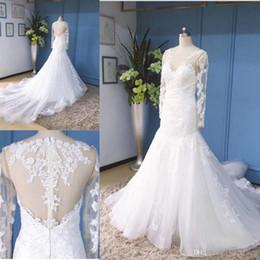 $enCountryForm.capitalKeyWord Australia - Plus Size Elegant Mermaid Wedding Dresses Scoop Long Sleeves Cathedral Train Zipper Applique Tulle Bridal Gowns