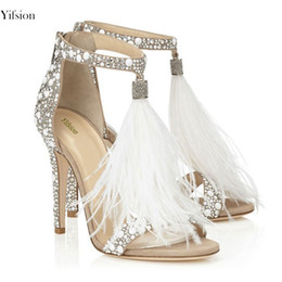$enCountryForm.capitalKeyWord Australia - Rontic Women Gladiator Sandals Thin High Heels 10cm Rhinestone Sandals Open Toe Sexy Nude Prom Shoes Ladies US Plus Size 3-12