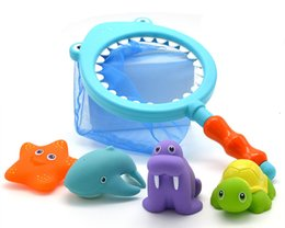 Water Color Change Plastic Australia - [TOP] Bath Toy Fishing game capture Spray dolphins Turtle Sea lions and Change color starfish Marine Animals set playing water