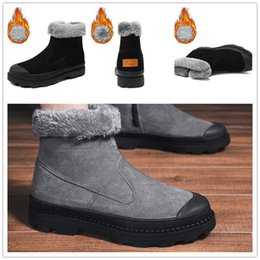 Discount warm flat shoes Winter Warm Plush Men's Boots Waterproof Ankle Boots Flat shoes Fashion Suede Leather Men's Snow Boots